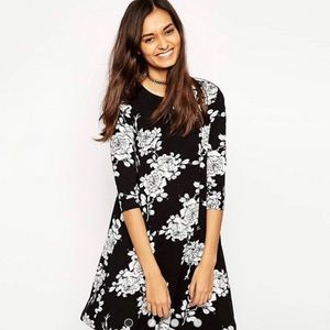 ASOS Black & White Floral Swing Dress